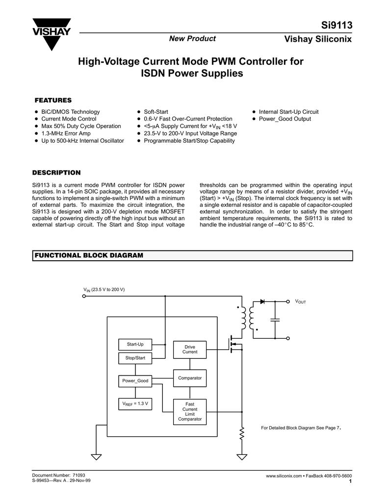 Vishay Si9113 Comparator Block Diagram