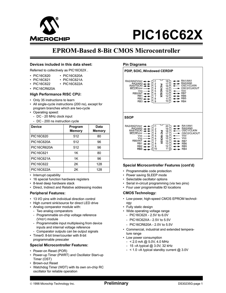 Microchip Pic16c622 D010 Led Driver Wiring Diagram