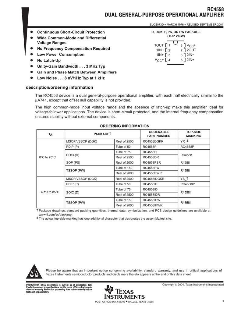 3 MHz 10 X Texas Instruments RC4558D DUAL OP AMP ± 12 V 8-Pin Soic ± 9 V