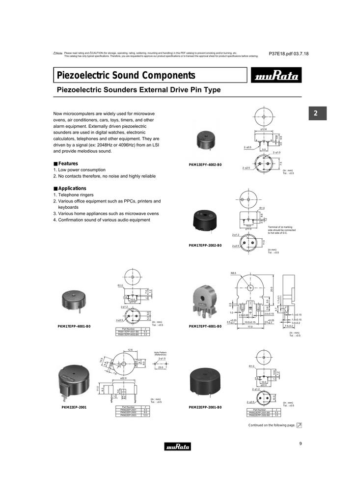 New Lot of 300 MuRata PKM22EPT-2001 Piezoelectric Sound Components