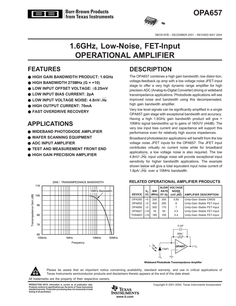Ti Opa627 Wide Band Rf Amplifier For 10mhz 500mhz Input