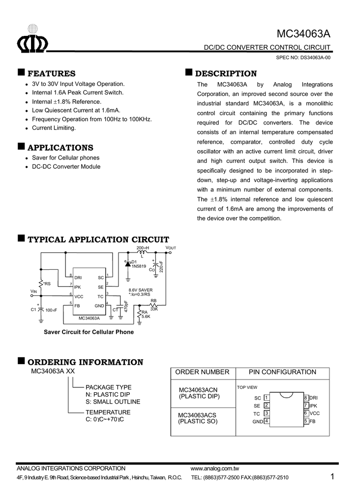 Etc Mc34063a The Stepup Converter