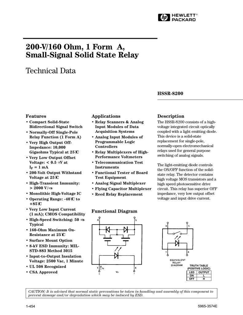 AGILENT HSSR - Electromechanical relay logic