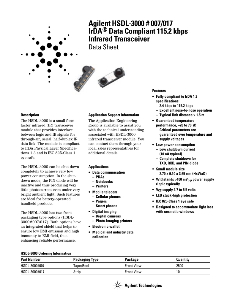 3602-007 IrDA Infrared transceiver Liteon hsdl