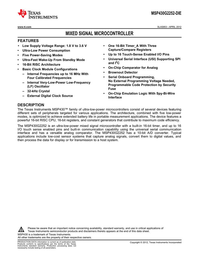 TI MSP430G2252-DIE