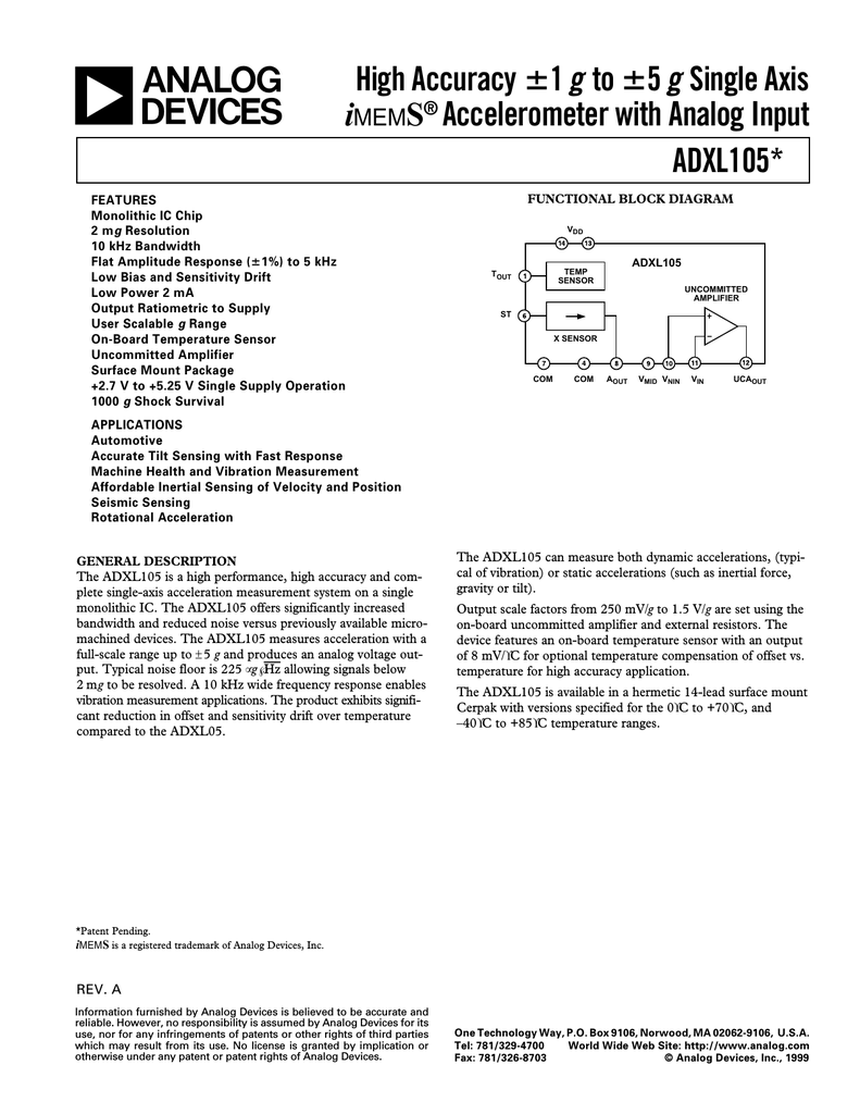 Ad Adxl105 Solutions Single Supply Shock Vibration Sensor Amplifier