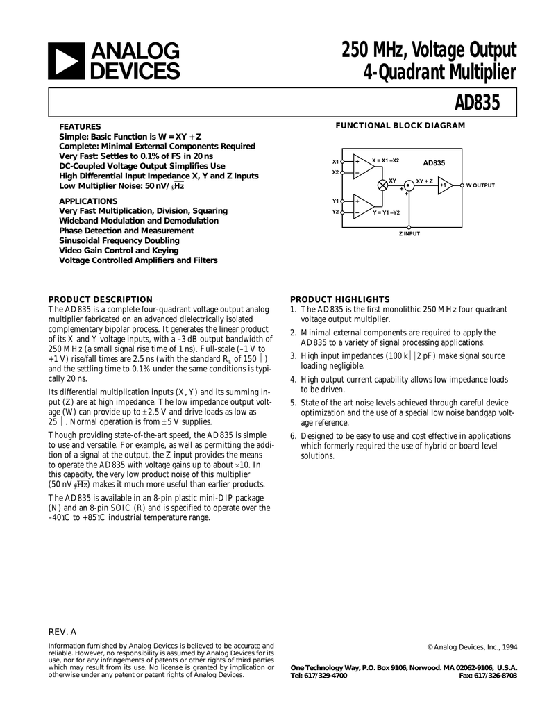 Ad Ad835ar Frequency Multiplication