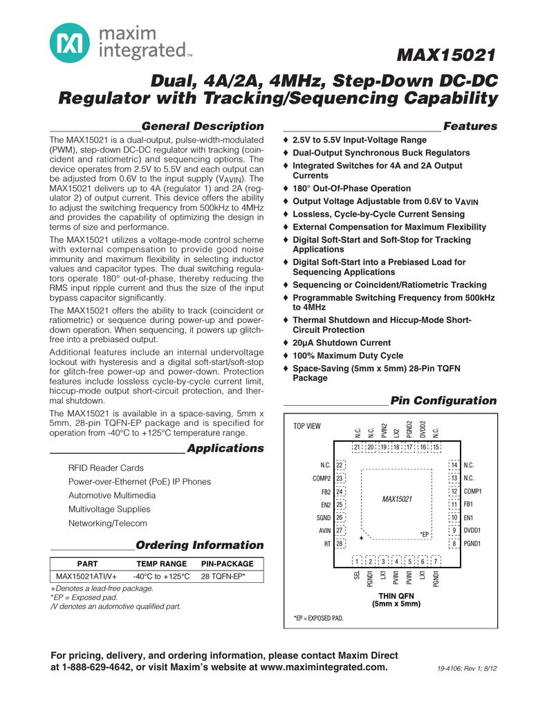 Maxim Max15021 5v 4a Step Down Regulator Circuit In Forward Converter Topology