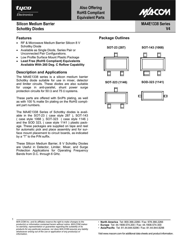 Ma Com Ma4e1338a1 Circuit Symbol Schottky Diode