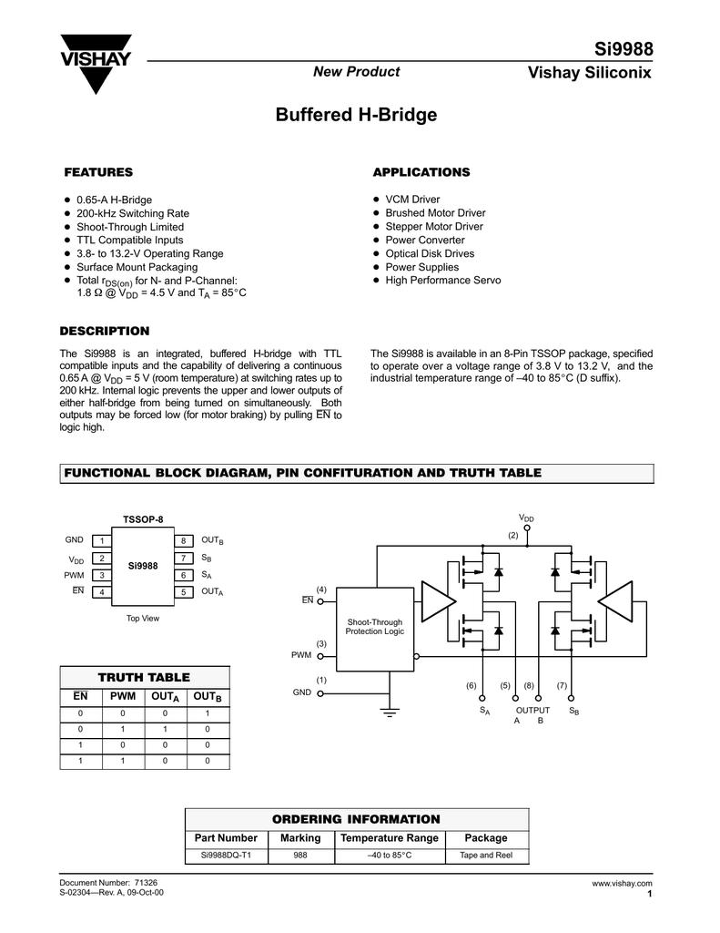 Vishay Si9988dq T1 H Bridge Block Diagram