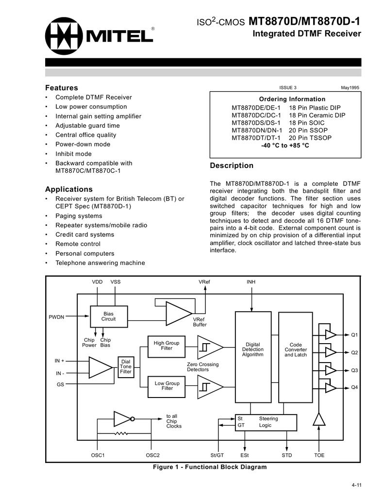 Mitel Mt8870 Circuit Using Dtmf Decoder Or Cm8870 As Shown In The U