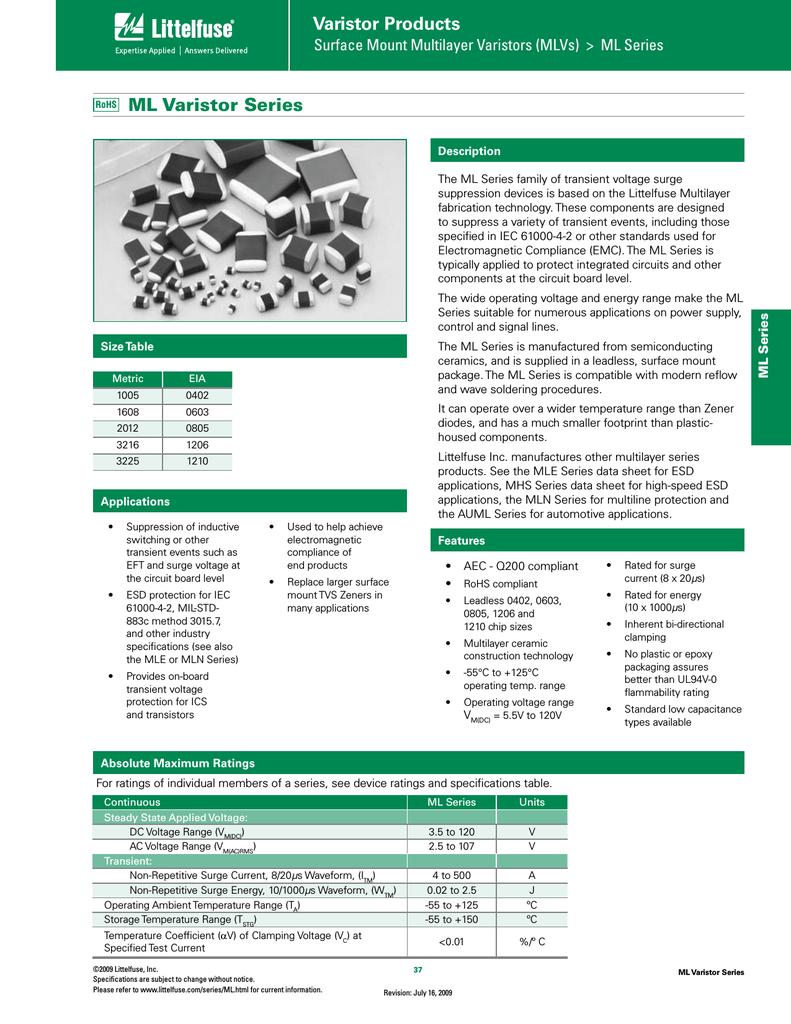 LITTELFUSE V56MLA1206T VARISTOR 50 pieces 120V 1206 MLV