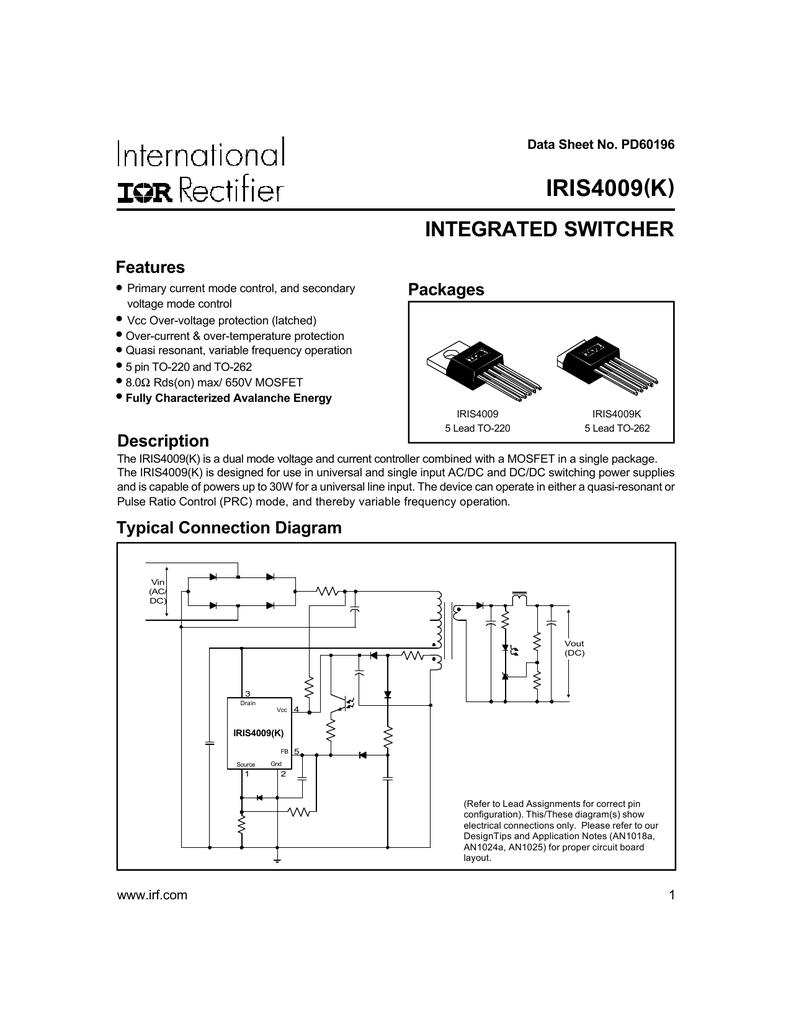 irf iris400912v Switching Power Supply Diagram With Iris4009 #9