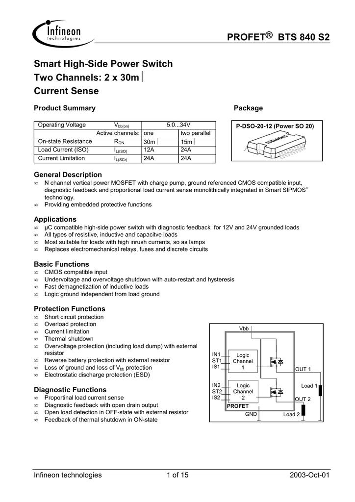 INFINEON BTSS - Electromechanical relay logic