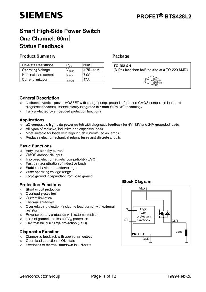 INFINEON BTSL - Electromechanical relay logic