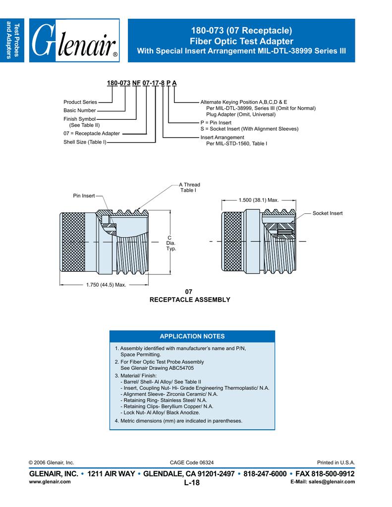 Glenair 180 073b07 13 13pa Fiber Optic Probe Diagram