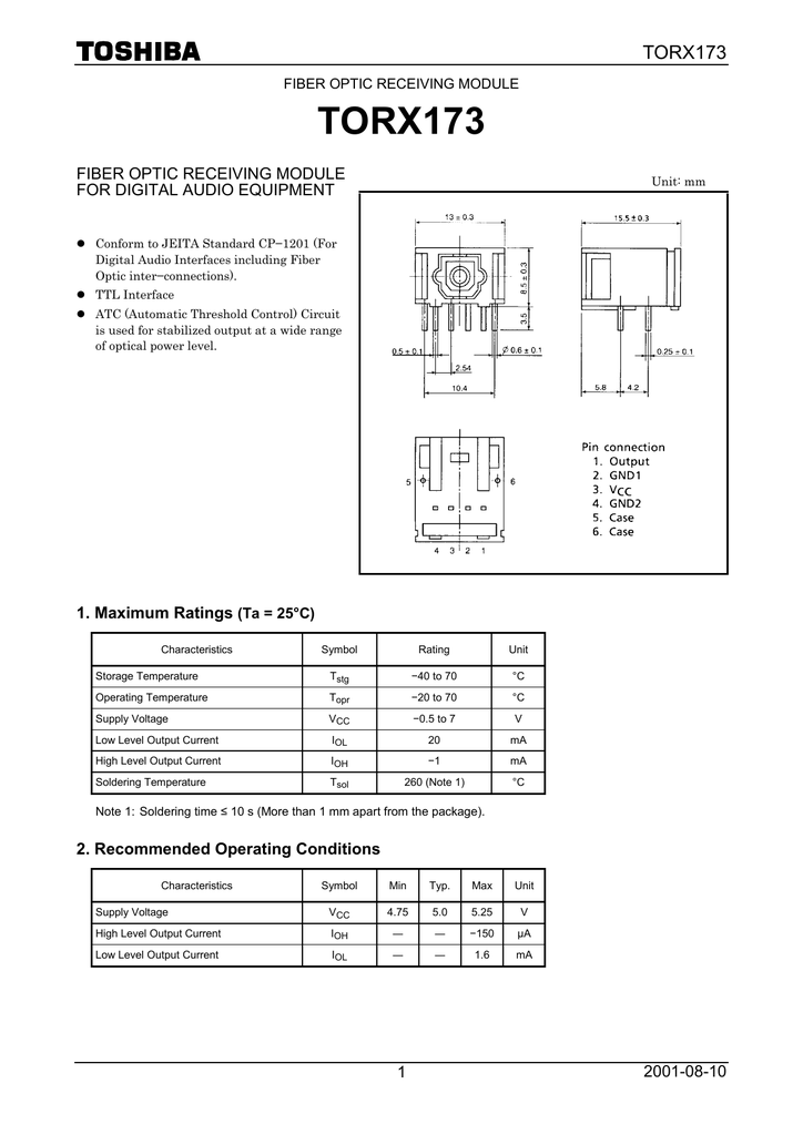 TOTX194 TOSHIBA Fiber Optic Transmitting Modul