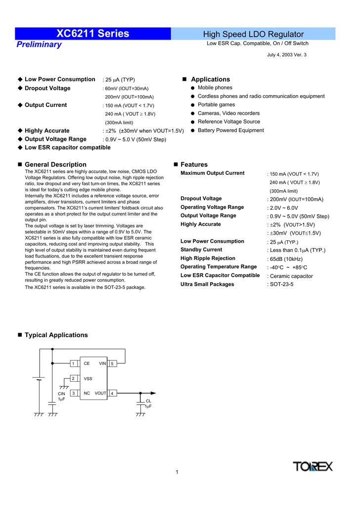 Torex Xc6211d02mr 20 V 300 Ma Low Noise Cmos Ldo