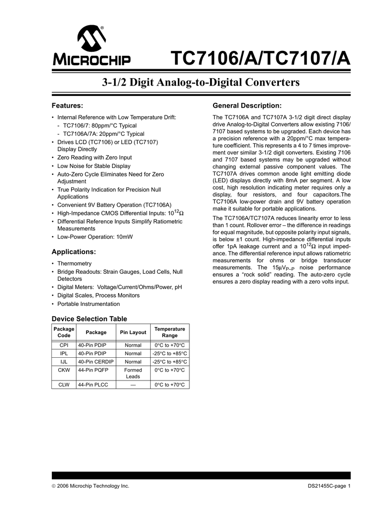 Intersil Icl7106 Typical Applications Test Circuits And Datasheet
