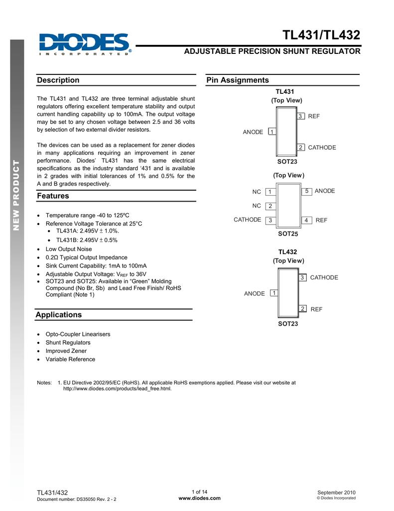 Diodes Tl431 Adjustable Regulator By