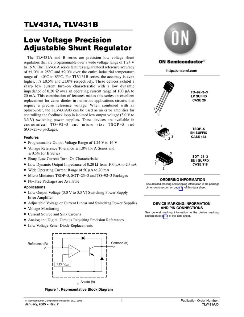 Onsemi Tlv431blpre Adjustable Shunt Regulator