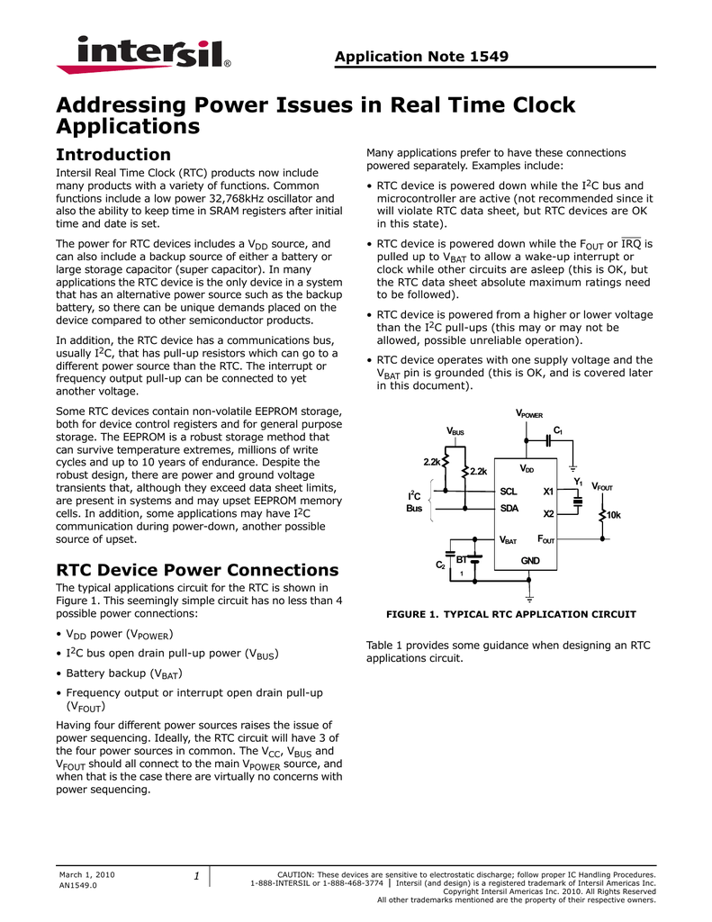 Intersil An15490 Example Of A Recommended Application Circuit For Rtc Backup