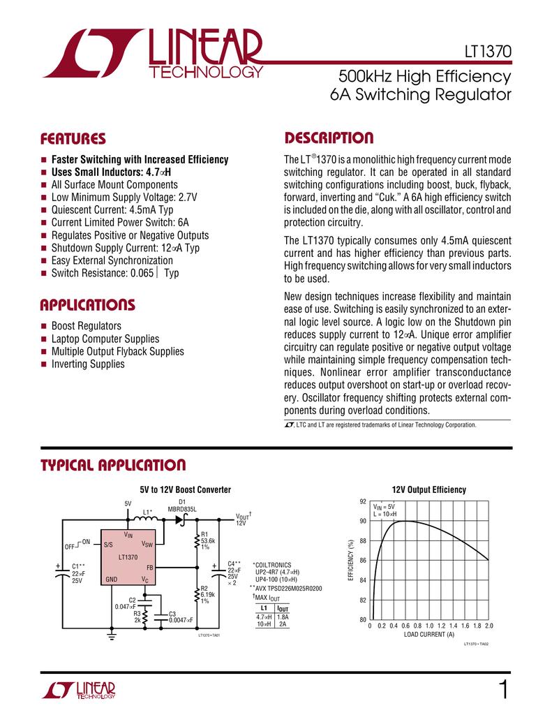 Liner Lt1370 12 V High Current Regulator