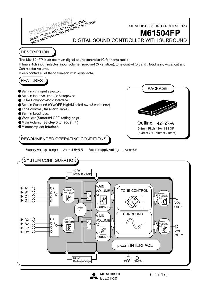 MITSUBIS M61504FP SSOP-42 DIGITAL SOUND CONTROLLER WITH