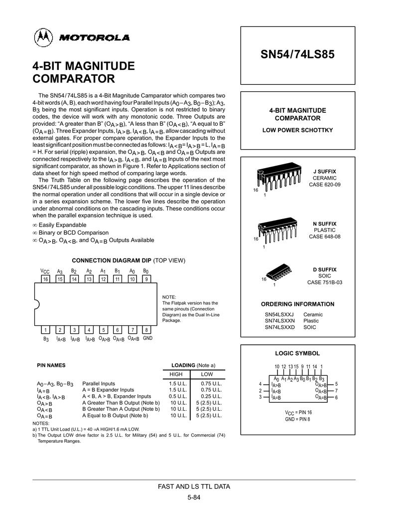 Motorola Sn54ls85 3 Bit Magnitude Comparator Logic Diagram