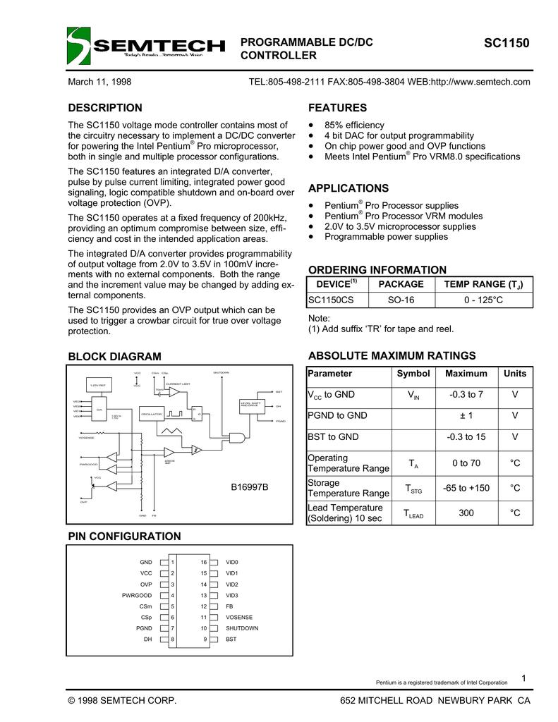 Semtech Sc1150 Pentium 3 Block Diagram