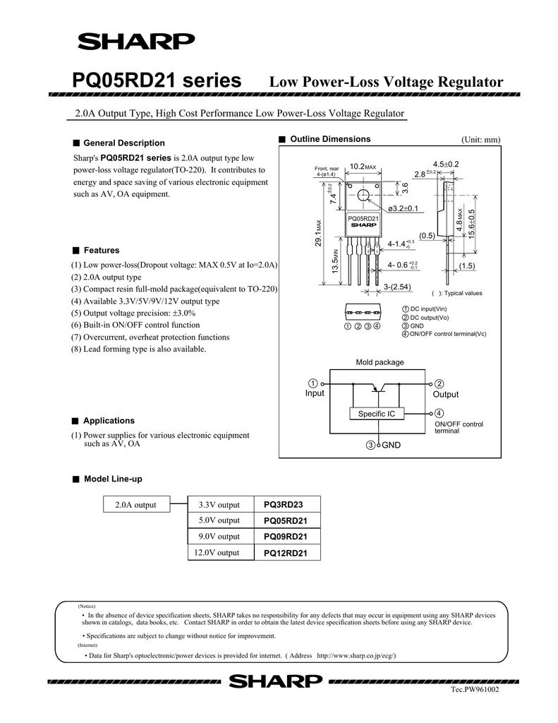 SHARP PQ05RD21 TO-220  Low Power-Loss Voltage Regulator