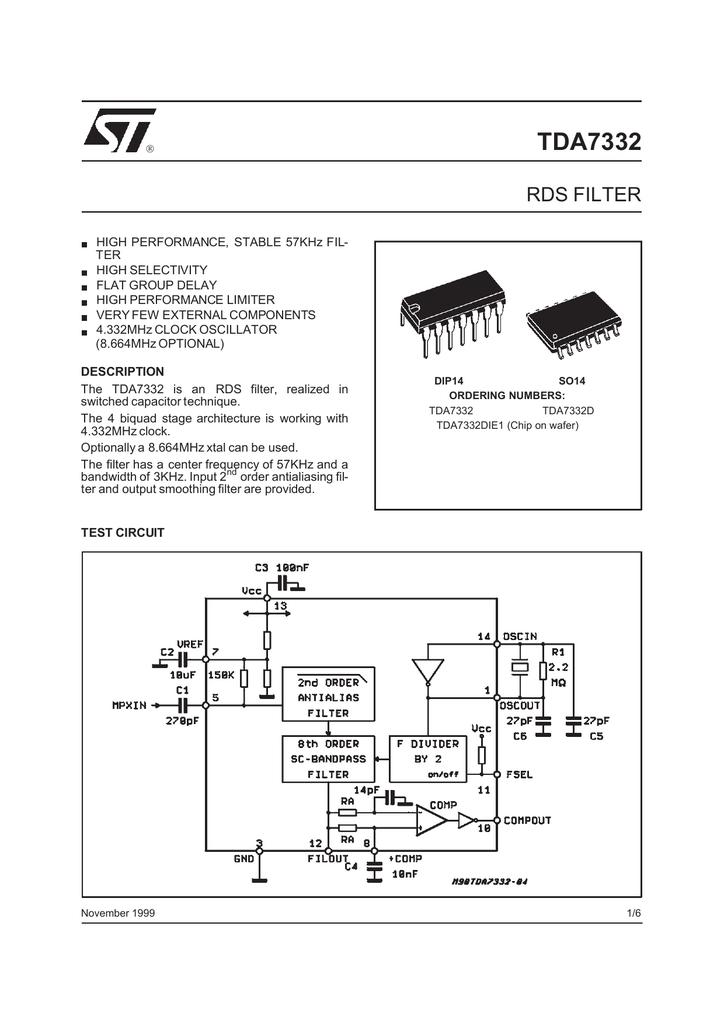 STMICROELECTRONICS TDA7332