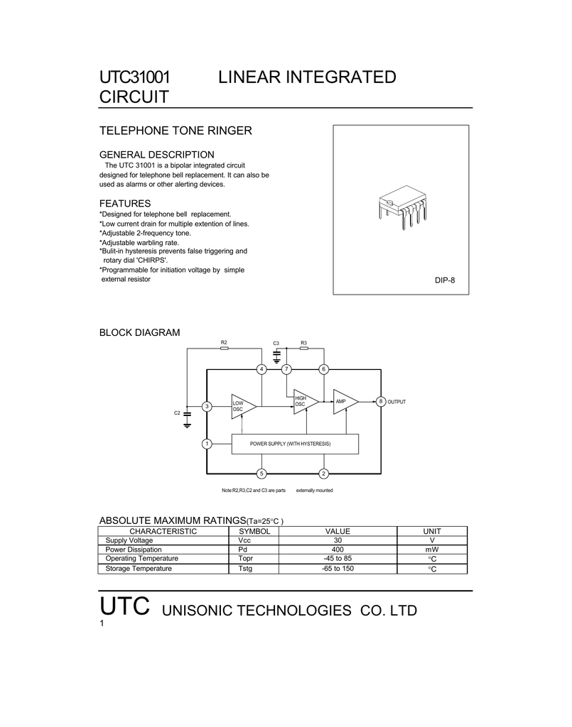 Utc Ic Utc31001 Simple Integrated Circuit