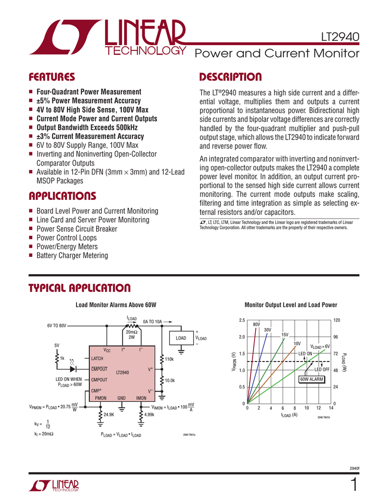 Liner Lt2940imspbf Linear Ltc4151 Voltage And Current Monitoring Device Datasheet