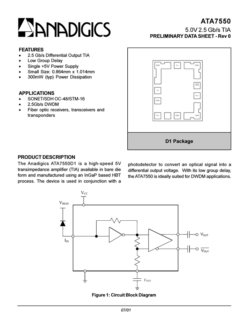 Anadigics Ata7550d1 Mode S Transponder Block Diagram