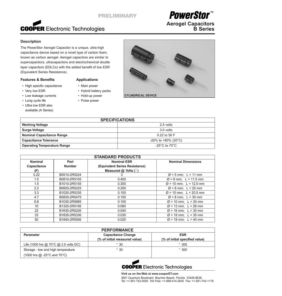 Super Cooper Bussmann Capacitor 2,5 V, 1.0 F b0810-2r5105-r