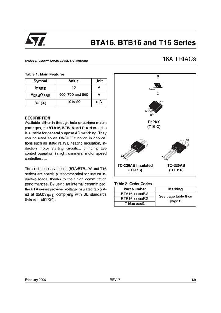 STMICROELECTRONICS T16XX-XXXG