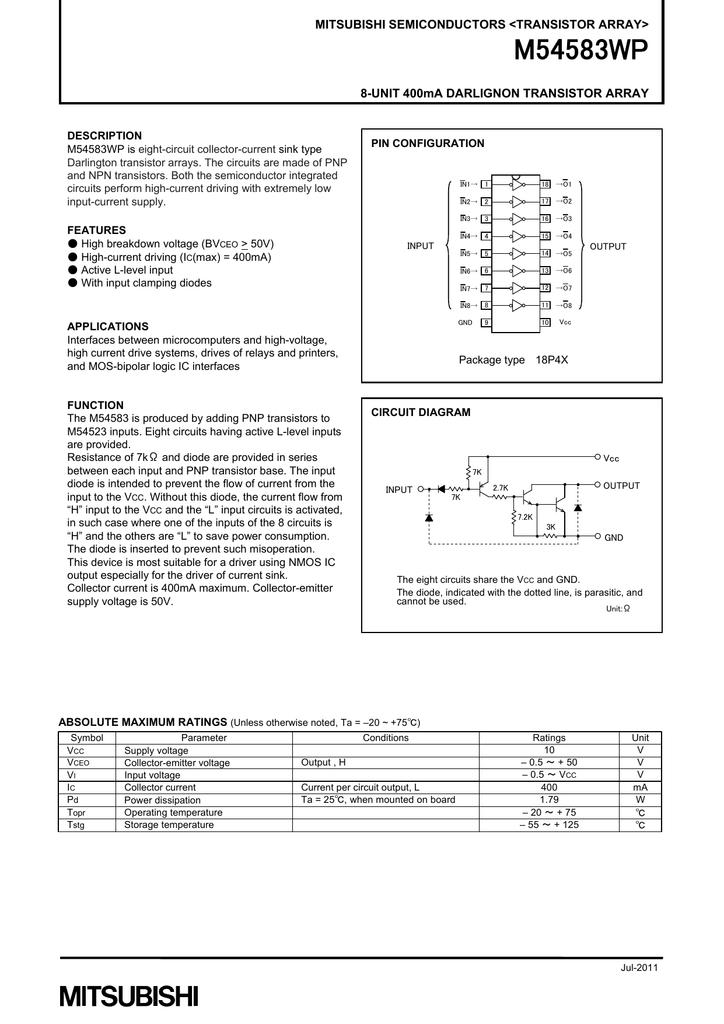Mitsubishi M54583wp Circuit Diagram Currents In The Darlington Pair