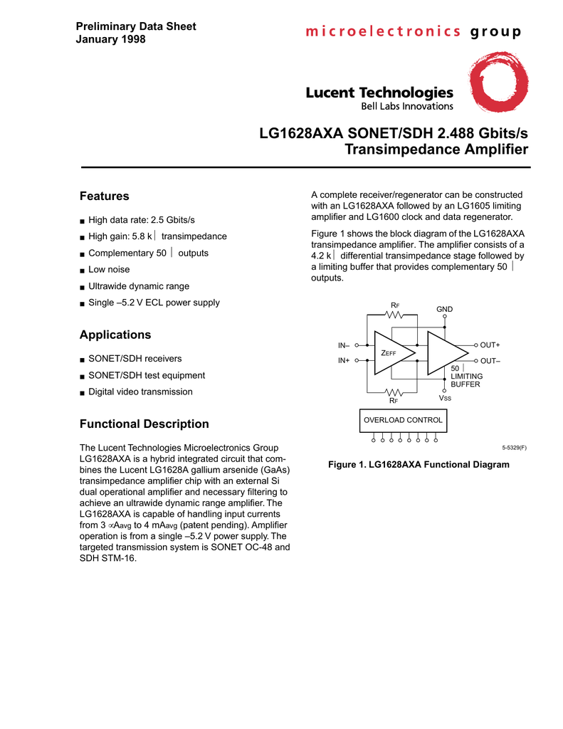Agere Lg1628axa Proposed Transimpedance Amplifier Schematic