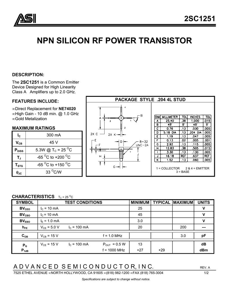 Asi 2sc1251 Blx15 150w Rf Power Amplifier
