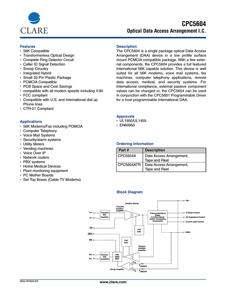 Clare Cpc5604a Schematic For Remote Telephone Ringer