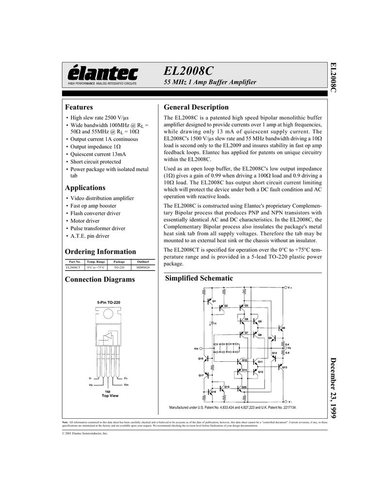 Elantec El2008ct Higher Output Current For Op Amp Schematic Diagram