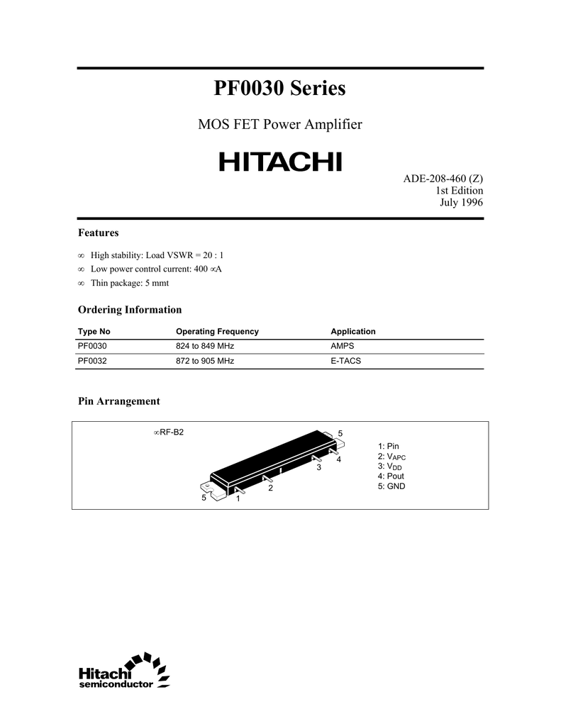 HITACHI PF0030 MODULE,MOS FET Power Amplifier