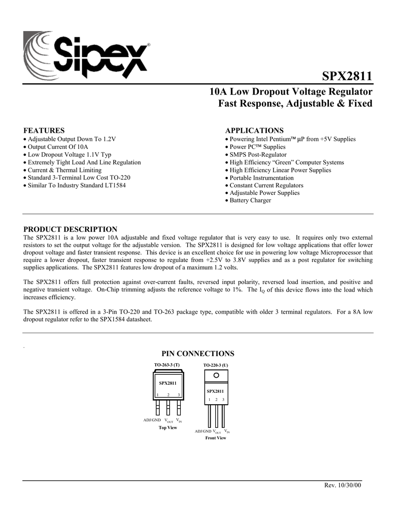 Sipex Spx2811at Adjustable Constant Current Load