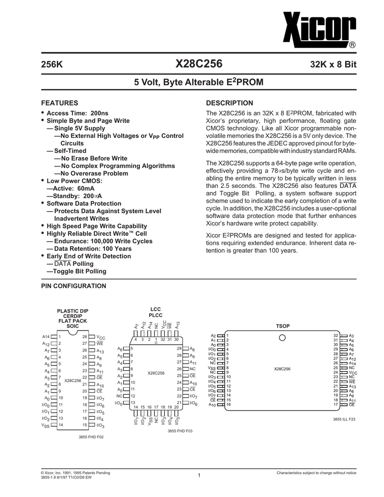 XICOR X28HC256JM-15 PLCC-32 5 Volt  Byte Alterable E2PROM