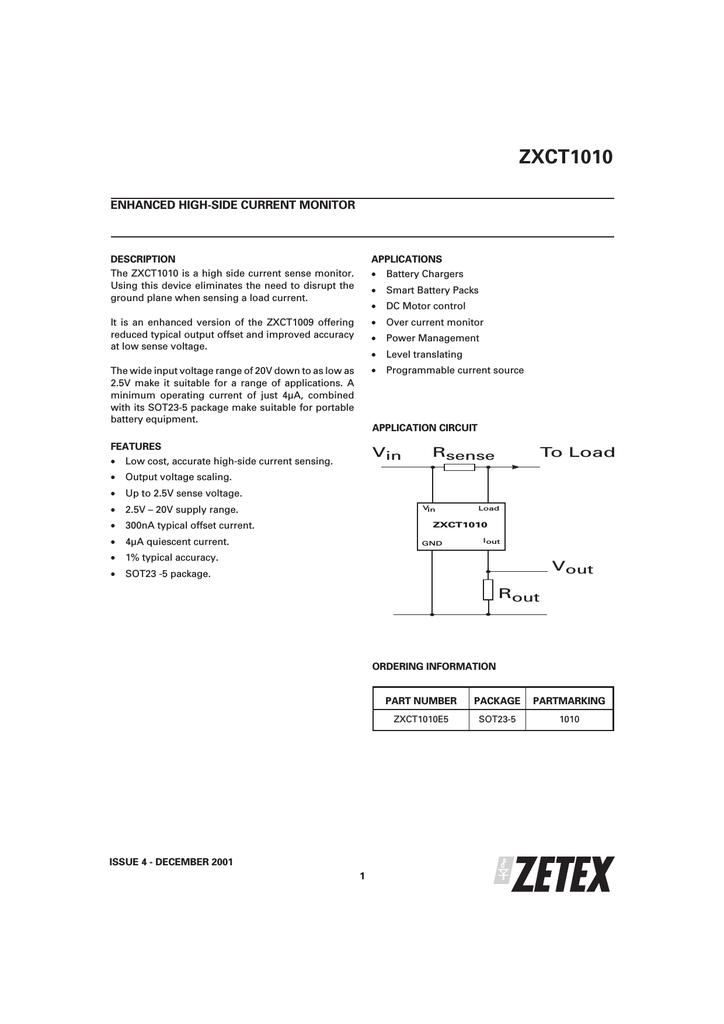 Zetex Zxct1010e5 Twovoltagerangebatterychargercircuit
