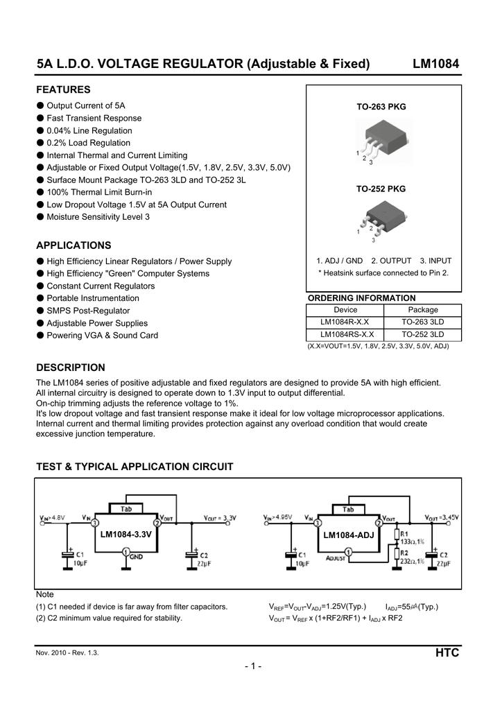 LM1084-5.0 LDO Positive Regulator 5V 5A TO-263