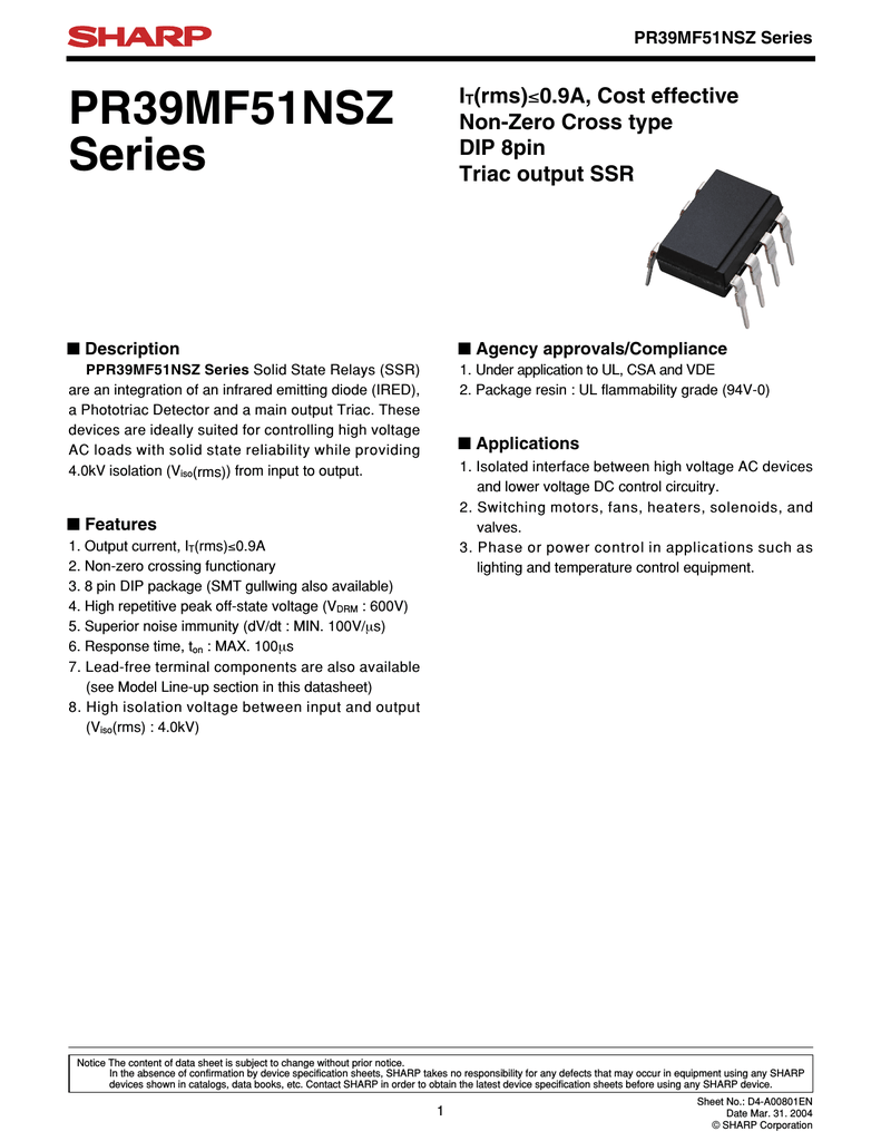 Sharp Pr39mf51nipf Solid State Relay Triac