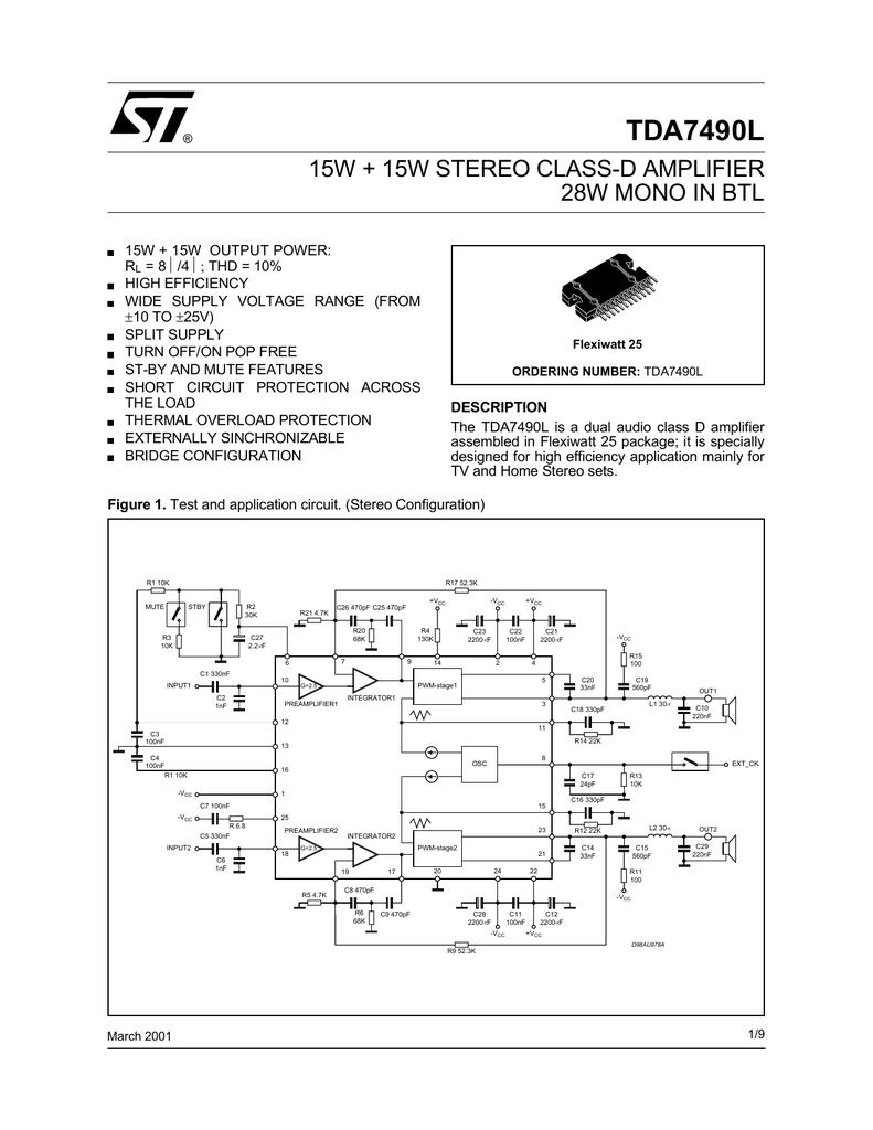 Stmicroelectronics Tda7490l Class D Amplifier Circuit Diagram