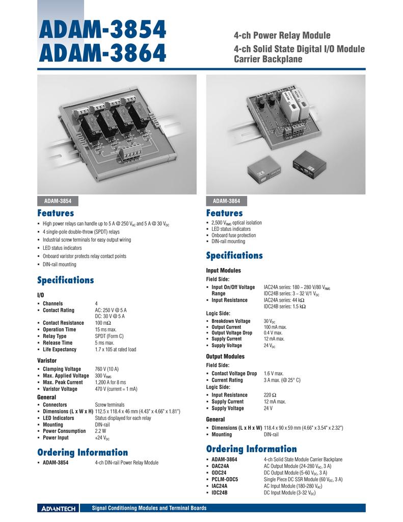 Advantech Adam 3854 Solid State Relay Varistor